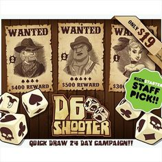 """#d6shooter looks like a really great luck of the dice and card game. 2- 4 players hunt and capture bandits for """"rep"""" points that will eventually title you marshall. I like the western look and feel like it's not used as often as it should. http://kck.st/1Tl5wLJ #indietabletop #tabletop #cardgame #boardgame #boardgamegeek #dicegame #spaghettiwestern #indiegame #gamenight Follow us at http://ift.tt/1DW0xF2 #indietabletop #boardgames #tabletop #games"""
