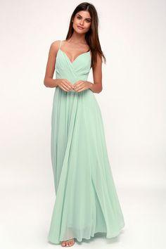 All About Love Mint Green Maxi Dress - savtod. Mint Dress Outfits, Mint Maxi Dresses, Green Dress Outfit, Maxi Gowns, Lace Dresses, Mint Green Long Dresses, Green Chiffon Dress, Green Maxi, Mint Gown