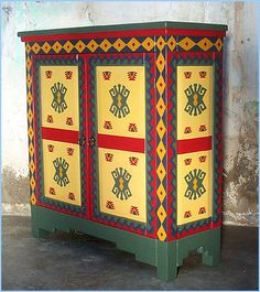 Southwestern New Mexican Painted Cabinet Art Furniture Rustic Painting Antique