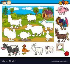 Educational task for preschoolers vector image on VectorStock Preschool Scavenger Hunt, Farm Animals Preschool, Body Preschool, Fall Preschool Activities, Toddler Learning Activities, Animal Activities, Montessori Activities, Preschool Worksheets, Teaching Kids