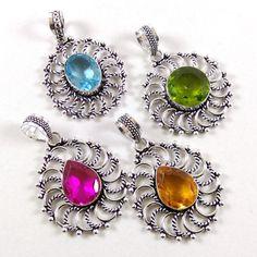 New Wholesale Lot 20 Pcs Citrine & Peridot .925 Silver Plated Pendants Jewelry #Unbranded #Pendant