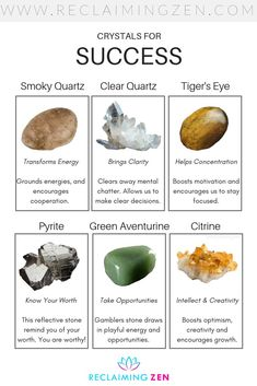 Harness power with our 6 crystals for success. Crystals can be used to help focus your intentions and boost you to take opportunity. Crystal Healing Chart, Crystal Guide, Crystal Magic, Healing Crystals, Crystals For Manifestation, Healing Crystal Jewelry, Crystals And Gemstones, Stones And Crystals, Natural Crystals