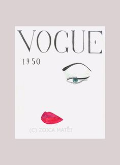 Watercolor Face 1950 Vogue Poster Fashion Illustration Vogue Cover Vintage Vogue Print Fashion Wall Art Fashion Poster Girls Room Decor (20.00 USD) by Zoia