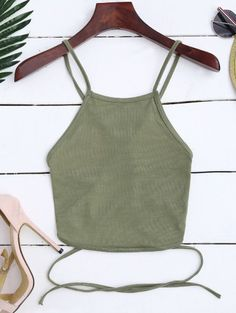 SHARE & Get it FREE | Cross Back Lace Up Crop Top - Army Green SFor Fashion Lovers only:80,000+ Items • New Arrivals Daily Join Zaful: Get YOUR $50 NOW!