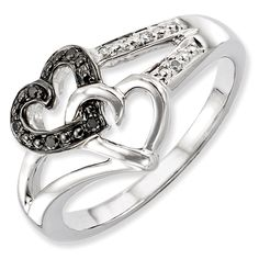 Sterling Silver Black & White Diamond Heart Ring Size 8