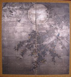 Two Panel Japanese Screen Painting: Moon and Wisteria, Japan, 1880 Shijo School. Mineral pigments on silver leaf.  Naga Antiques  .  名月のこころになれば夜の明るmeigetsu no kokoro ni nareba yo no  harvest moon—when my heart's had its fillit's dawn  ~Issa, 1798  Translation: David G. Lanoue