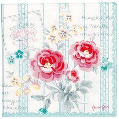 GreenGate Paper Napkin Large 33 cm Lulu Mint 20 Pieces   Autumn/Winter 2013   Originated-Webshop