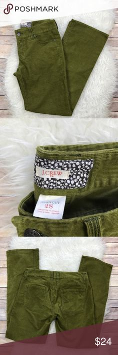 """J. Crew Factory Moss Corduroy Bootcut Pants Excellent J. Crew Factory moss colored Bootcut pants. Size 2 Short. Stretchy 99% cotton, 1% spandex. Waistband 30.5"""", rise 8"""", inseam 31"""". No trades, offers welcome. J. Crew Factory Pants Boot Cut & Flare"""