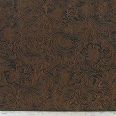 Brown Tooled Suede Fabric