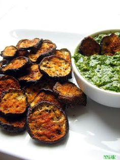 Eggplant chips w/ cilantro pesto dip - I made these and used the left over pesto to make a pesto pizza with asiago and Parmesan cheese on a boboli pizza crust