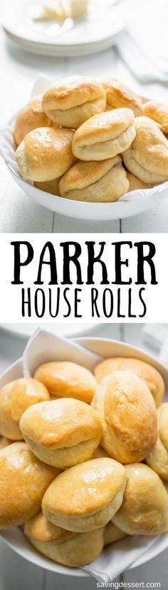 Homemade Parker House Rolls ~ Puffy, pillowy soft and buttery, homemade Parker House Rolls are easy to make and even easier to eat! www.savingdessert.com #savingroomfordessert #parkerhouserolls #homemaderolls #yeastrolls #rolls #dinnerrolls