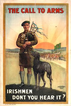 Vintage Wwi Call To Arms Irish Ireland War Recruitment Poster