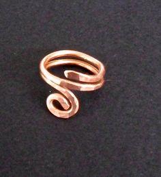 Copper ring, rustic  copper wire jewelry