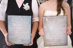"I love this wedding vow art!  Preserve your vows on wall art you can hang.  Read what this couple wrote... the sweetest things from ""open all the jars with difficult lids"" to ""always encourage snack stops on every road trip"". So cute! 