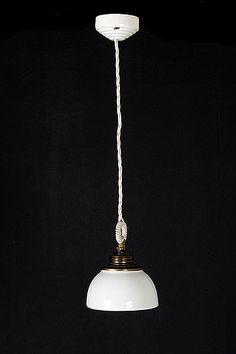Single Italian Vintage Industrial Ceramic Shade Pendant