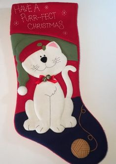 "Kitty Cat Christmas Stocking Felt Have A Purrfect Xmas Bells & Yarn Ball 18"" #PrimaCreations"