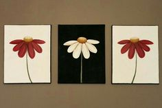 Acrylic paintings daisies Original Abstract Acrylic Painting on Canvas Now And Forever Flowers Daisies Red White Black Comtemporary Minimalist Bloom Spring Summer Acrylic Painting Flowers, Acrylic Painting Canvas, Daisy Painting, Mini Canvas Art, Diy Canvas, Canvas Painting Tutorials, Painting Inspiration, Painting & Drawing, Art Drawings