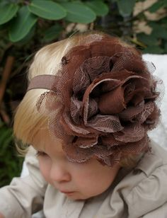 A.S.W. Fall Photo Session Prop Ideas: SALE Baby Headband - Brown Flower Headband- Over the top Headband - Brown Children's Headband - Fall Headband. $11.00, via Etsy.