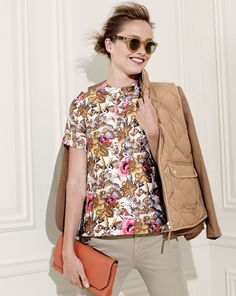 J.Crew Collection antiqued floral top.