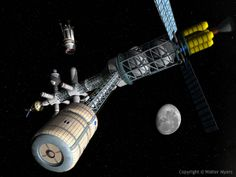 Space exploration - Lunar cycler centrifuge; Earth-Moon cycler; spacecraft; spaceship; space station - Space Art Illustration