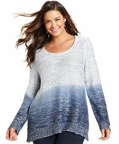 Alfani Plus Size Dip-Dyed Sequin Sweater