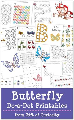 Free Butterfly Do-a-Dot Printables: 20 pages of butterfly do-a-dot worksheets for kids ages 2-6. I love the graphics in this pack! || Gift of Curiosity