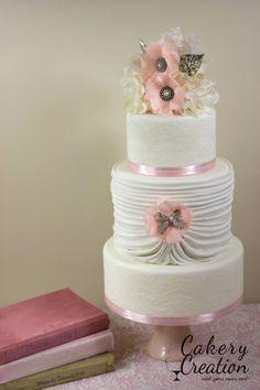 Round Wedding Cakes - Vintage lace wedding cake by Cakery Creation in Daytona Beach.