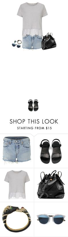 """""""How to Style a Grey Lace Top with Denim Shorts and Black Sandals"""" by outfitsfortravel ❤ liked on Polyvore featuring Levi's, Miss Selfridge, Aspinal of London, Ciner, Christian Dior and Sonia Rykiel"""