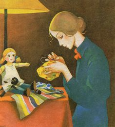 Christmas Paintings, Christmas Art, Vintage Children's Books, Vintage Postcards, Girl Face Drawing, Cottage Art, Sewing Art, Children's Book Illustration, Female Art