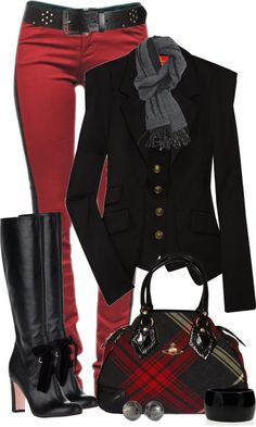 Make the jeggings leggings, wear a longer, tunic style jacket, add walkable boots and I love this - I also found a pea coat in almost the exact same red/black plaid as that purse at... Walmart!