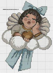 Schema angelo thun â· cross stitch . Cross Stitch Angels, Xmas Cross Stitch, Cross Stitching, Cross Stitch Embroidery, Cross Stitch Patterns, Red Pages, Cross Love, Little Cherubs, Swedish Weaving