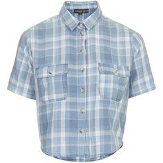 TOPSHOP PETITE Checked Shirt ($27) ❤ liked on Polyvore featuring tops, shirts, indigo, petite, shirt tops, checked shirt, checkered shirt, cut-out crop tops and petite shirts
