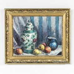 """Oil on artboard in period gilt frame, c. 1930's. Still life with vase and fruits. Signed A. Levesque (Andree Levesque). 21.5"""" H X 25.5"""" W framed 16.5"""" H X 20.5"""" H unframed"""