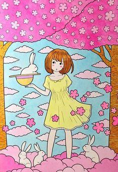 徳田有希  桜と白ウサギと女の子の画像 プリ画像