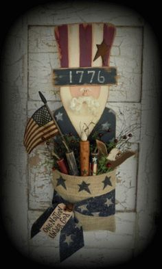 PatternMart.com ::. PatternMart: Primitive Americana Uncle Sam Wood Pattern with TImer Candle