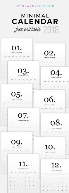 Free Printable 2018 Minimal Calendar #2018Calendar #FreePrintable #Calendar #minimalist #modern #simple