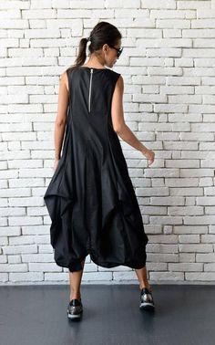 OFF Black Maxi Dress/Extravagant Asymmetric Casual Dress/Oversize Long Black Tunic/Black Sleeveless Kaftan/Loose Black Dress/Plus Size T Black Tunic Dress, Black Maxi, Long Tunic Tops, Long Tops, Plus Size Black Dresses, Maxi Robes, Plus Size Womens Clothing, Asymmetrical Dress, Casual Dresses For Women