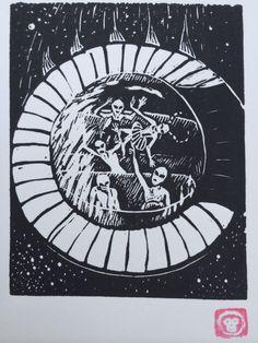 C: Retro Science Fiction Alphabet Letter, UFO and Grey Aliens Linocut (woodcut-ish) print on Etsy, $15.00