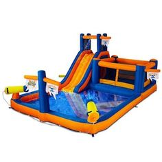 Blast Zone Pirate's Bay Inflatable Amusement Park at Kohl's - This unit features dual water cannons, bouncer with safety netting, slide, splash pool and a crawl tunnel. Inflatable Water Park, Inflatable Bounce House, Inflatable Bouncers, Happy Hop, Bouncy Castle For Sale, Bouncy House, Backyard Playground, Backyard Ideas, Outdoor Toys