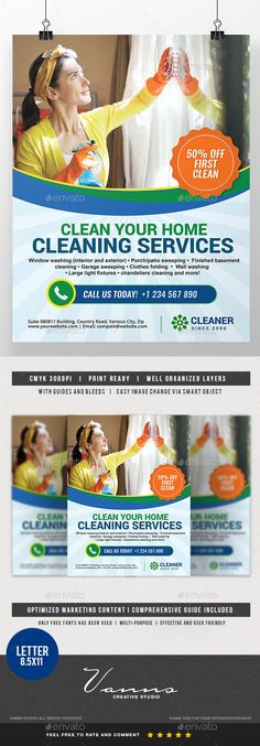 Buy Cleaning Services Flyer by Artchery on GraphicRiver. Cleaning Services Flyer Boost your company's sales and attract new customers! This flyer has been developed to boost . Cleaning Service Flyer, Cleaning Flyers, Cleaning Companies, House Cleaning Services, Cleaning Business, Cleaning Maid, Web Design, Flyer Design, Graphic Design