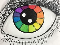 Eye Color Wheel example by L. Washburn for flyingbystandergoods Color Wheel Lesson, Color Wheel Projects, Color Wheel Art, Elements Of Art Color, 6th Grade Art, Ecole Art, School Art Projects, Art Lessons Elementary, Art Abstrait