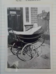 A Fantastic Vintage Photograph - A Baby In A Large Old Pram, March 1956