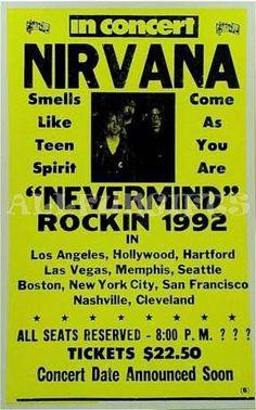 "14""x22"" Nirvana Concert Poster  $8"
