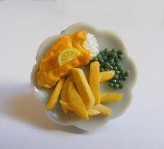Alimentaire bijoux Fish and Chips bague Miniature Food par NeatEats