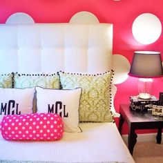 simple bedding... pops of color with pillows/monogramming