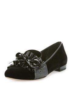8c5edb4695b Miu Miu velvet loafer with patent leather trim. 0.5