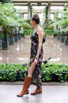 Spring Outfits You Can Wear with Tall Boots - Instinctively en Vogue; American Eagle floral jumpsuit; tall brown boots