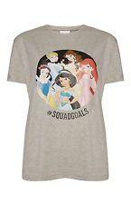 DISNEY Ladies T Shirt Primark #SQUADGOALS ARIEL JASMINE BELLE SNOW WHITE