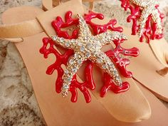 b86f188a0fb Items similar to Coral & Crystal Big Starfish Sandals / Red Enameled Brass  Handmade Ankle Strap Natural or Gold Leather Bride Sandals w/ Rhinestones  on Etsy