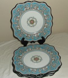 FOUR (4) WEDGWOOD Florentine Turquoise W2714 Square Salad Plates